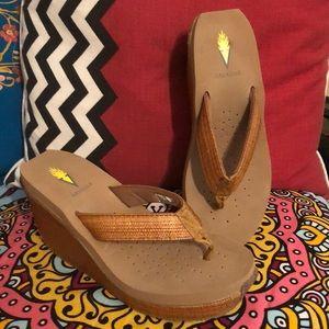 Size 8. 3 inch heel wedge sandals